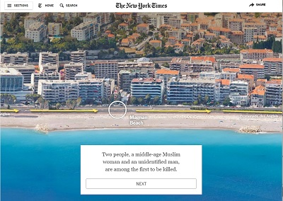 """Uma informação multimédia do """"New York Times"""" que dá uma visão global do que aconteceu em Nice"""