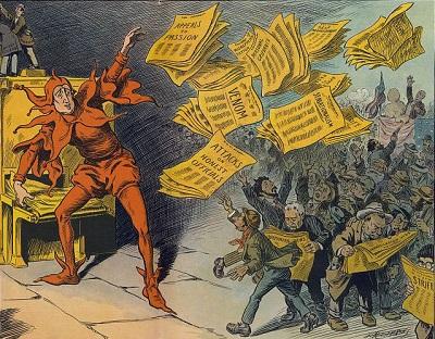L.M. Slackens: A Imprensa Amarela, mostrando William Randolph Hearst  como um bobo distribuindo jornais (1910)